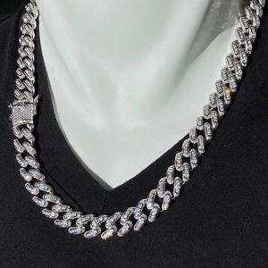 Iced out 22 inch diamond grown silver Cuban link